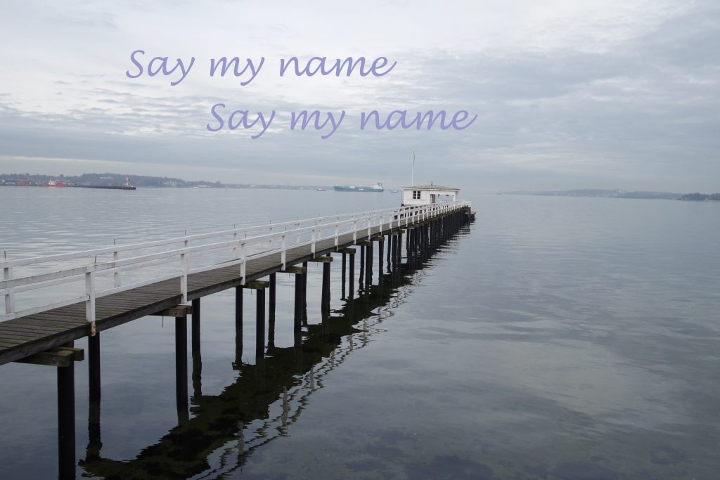 maritimes Bild mit dem Schriftzug Say my Name